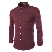 Solid Color Bussiness Shirt 2016 New arrival Brand-clothingCotton Button Decoration Long Sleeve Shirt 3XL CCBD-9205