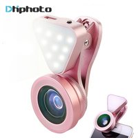 3 In 1 Lens Fill Light 140 Degree Wide Angle 15X Macro Lens Clip On Cell