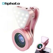 Phone Camera Lens with Beauty Led Flash Fill Light Adjustable Brightness,Wide Angle Lens,15X Macro Lens Clip-onLens for iPhone