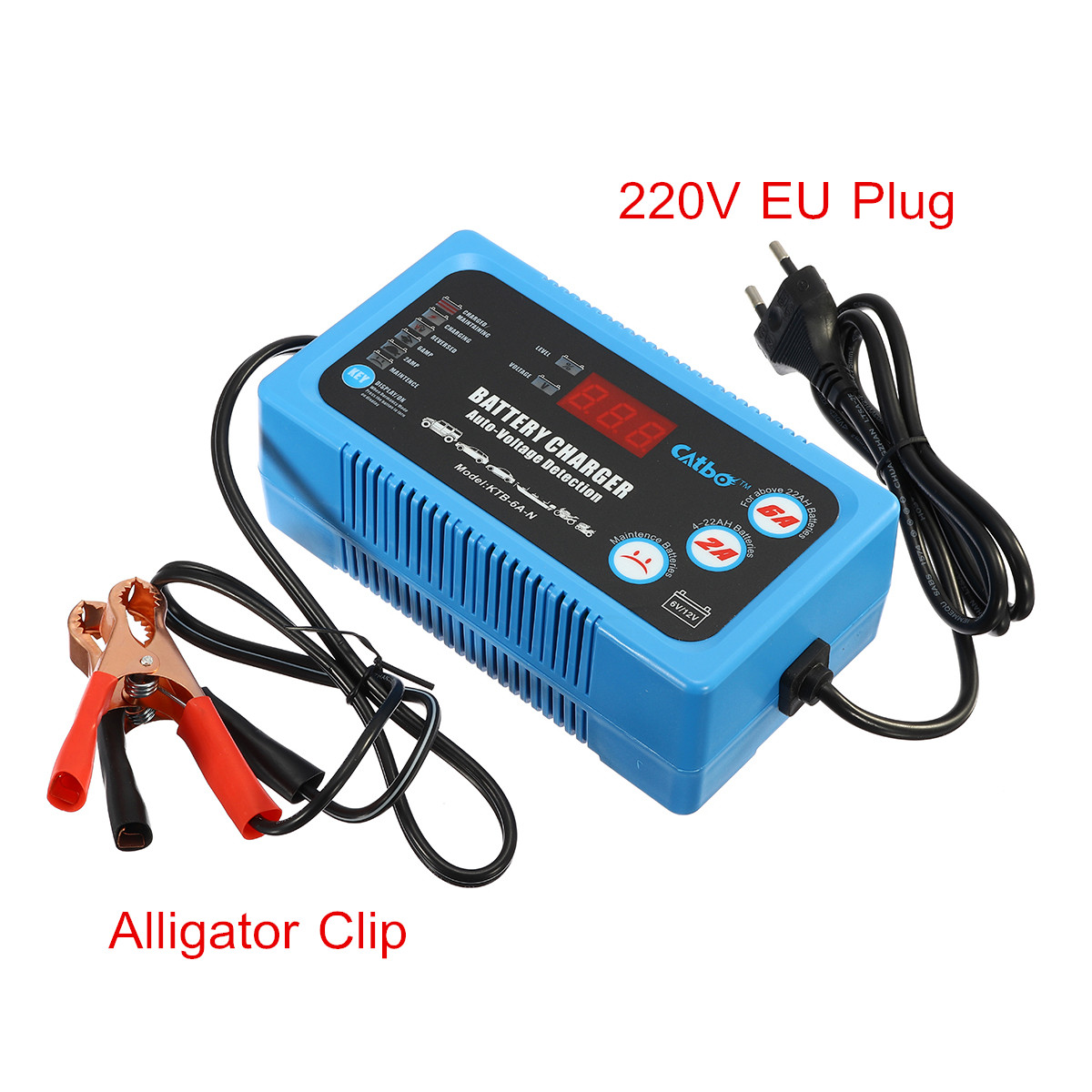 220V 6V/12V 120AH Car Battery Charger Automatic Intelligent Pulse Repair  Type Digital Display Heat Radiator Control Energy Save