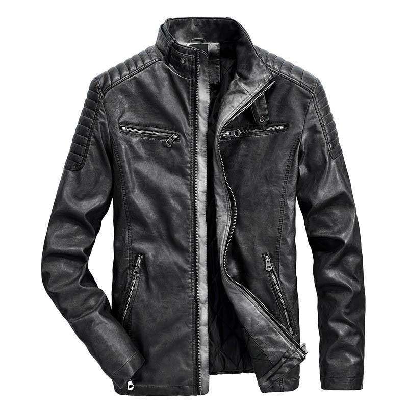 Automne hommes veste en cuir Moto & Biker PU cuir manteau hommes épais chaud coupe-vent Vintage veste en cuir hommes vêtements d'extérieur décontractés
