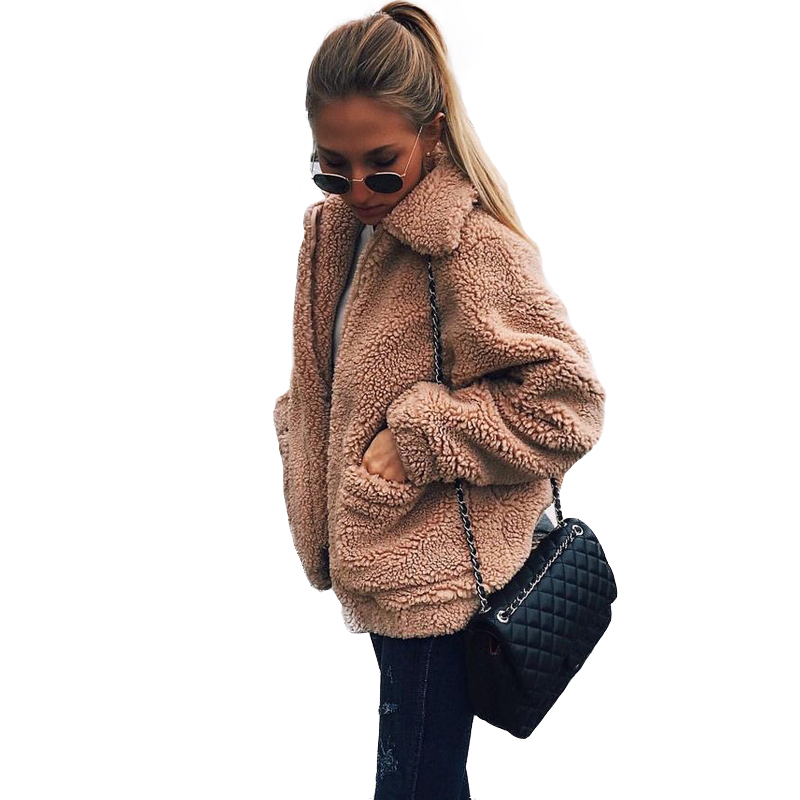 Autumn 2018 Winter   jacket   Women outwear coats female Faux lambswool Big size Women Loose Lapel   basic     jackets   Womens   jacket