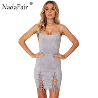 Nadafair Spaghetti Strap Backless Lace Up Sheath Sexy Club Bodycon Suede Dress Casual Women Party Dresses