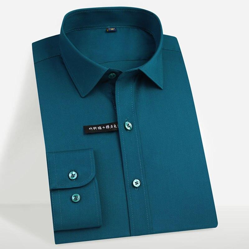 남성 레귤러 피트 긴 소매 스트레치 쉬운 관리 셔츠 공식 비즈니스 사무실/작업복 대나무 섬유 솔리드 사회 복장 셔츠