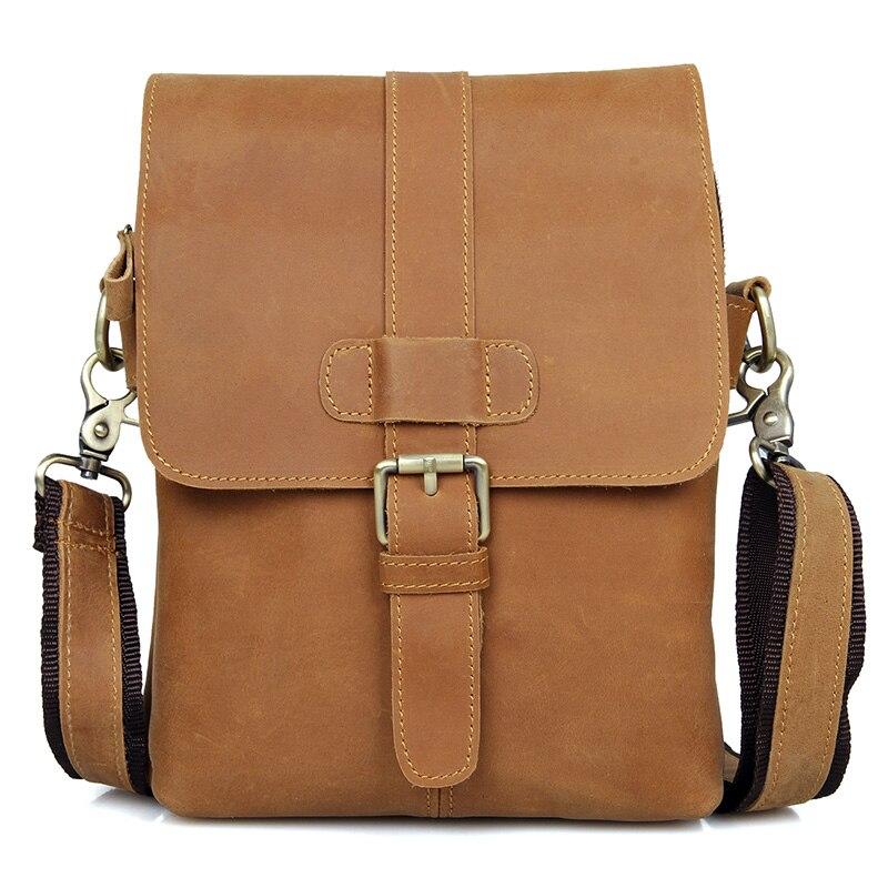 Cow Leather Men's Cross Body Brown Bag Designer Mini Vintage Man Crossbody Shoulder Messenger Small Brand Bags High Quality