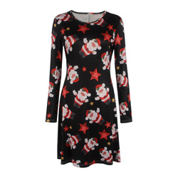S-5XL Plus Size Tunic Autumn Women Dresses Casual Cartoon Print Christmas Dress Casual Loose Long Sleeve Party Dress Vestidos 4