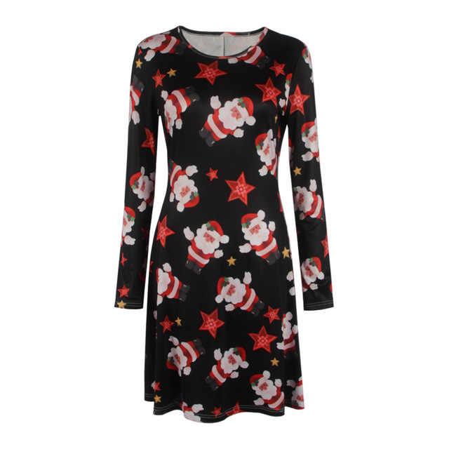 S-5XL artı boyutu tunik sonbahar kadın elbiseler rahat karikatür baskı noel elbise rahat gevşek uzun kollu parti elbisesi Vestidos