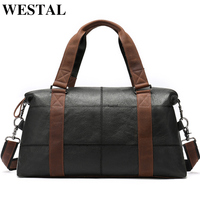WESTAL Men Travel Bags Genuine Leather Foldable Carry on Bags Weekend Bag Men Duffel Bag for Hand Luggage Large Totes 9527
