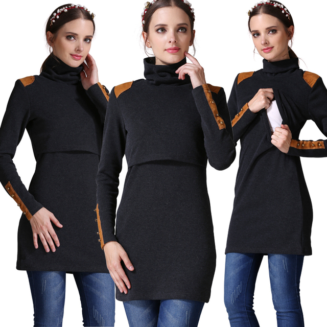 Emotion Moms Turtleneck nursing Maternity clothes nursing pregnant dress pregnancy clothes for Pregnant Women maternity dresses