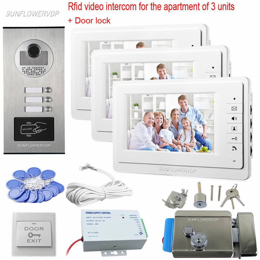 Rfid Cards font b Video b font Doorphone 7 Color Monitor For Doorphone For 3 Apartments