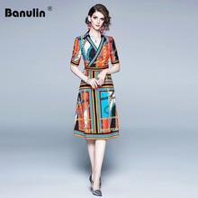 Banulin 2019 Fashion Runway Summer Dress Womens V Neck Elegant Striped Chain Print Pleated Vintage Slim Party vestidos
