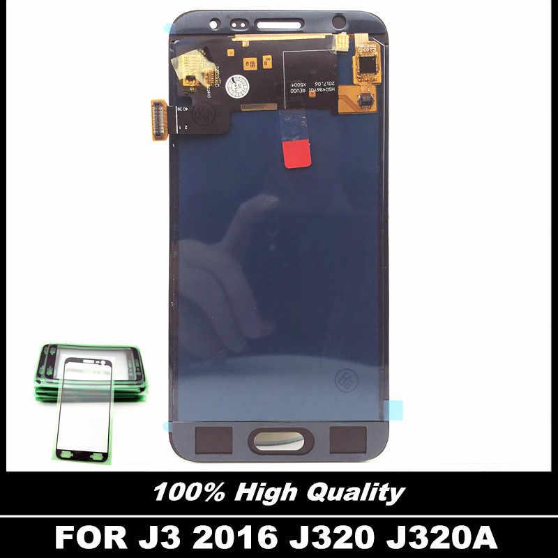 100% اختبار عالية الجودة شاشات الكريستال السائل لسامسونج غالاكسي J3 2016 J320 J320F J320P J320A شاشة إل سي دي باللمس شاشة قطع غيار محول رقمي