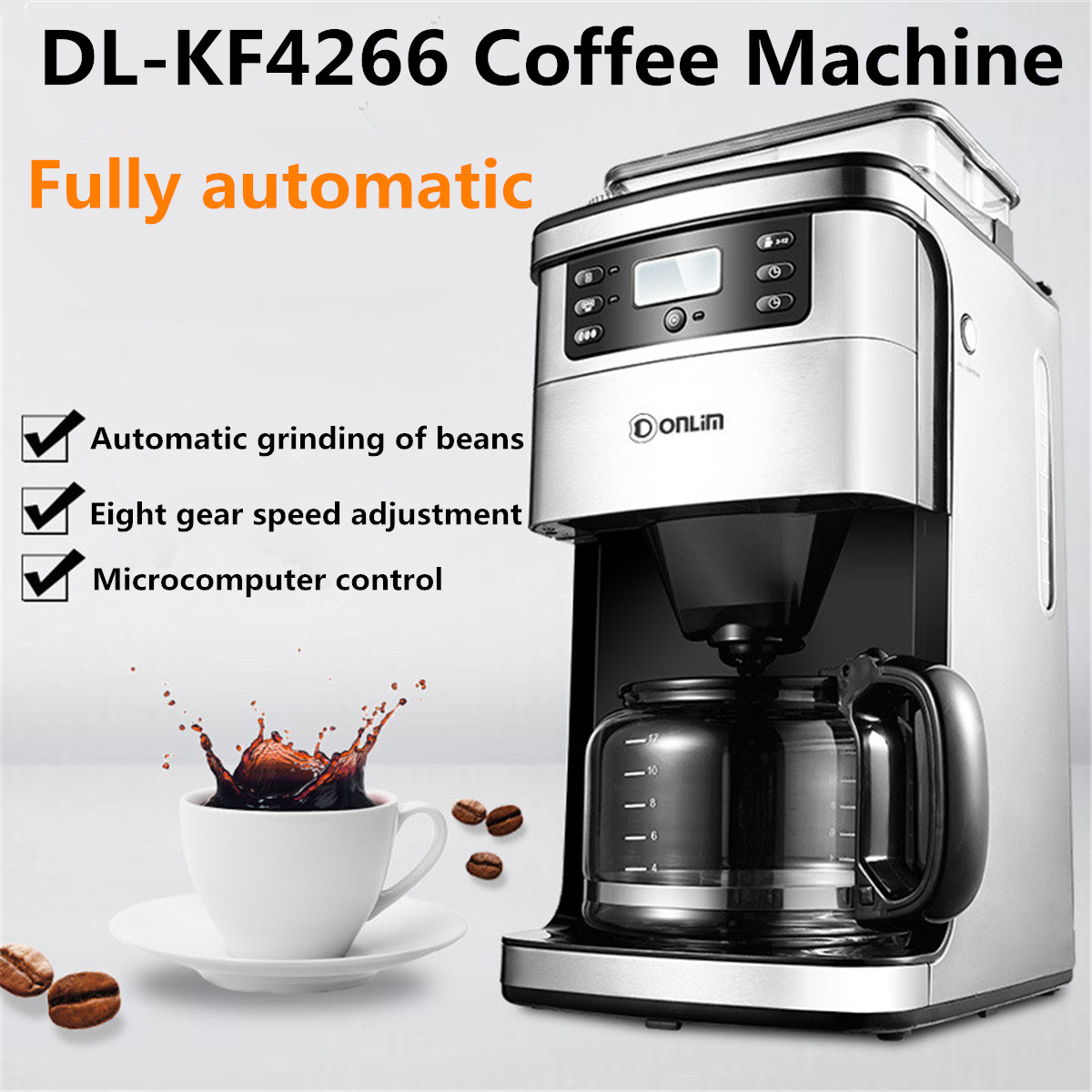 Smart Full Automatic American Coffee Machine/Drip Coffee Grinder With Glass Pot/Filter/Measuring Spoon Cappuccino Latte MakerSmart Full Automatic American Coffee Machine/Drip Coffee Grinder With Glass Pot/Filter/Measuring Spoon Cappuccino Latte Maker