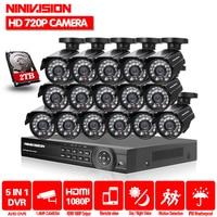 16CH 1080P HDMI DVR 2000TVL 720P HD Outdoor Surveillance Security Camera System 16 Channel CCTV DVR Kit AHD Camera Set 2TB HDD