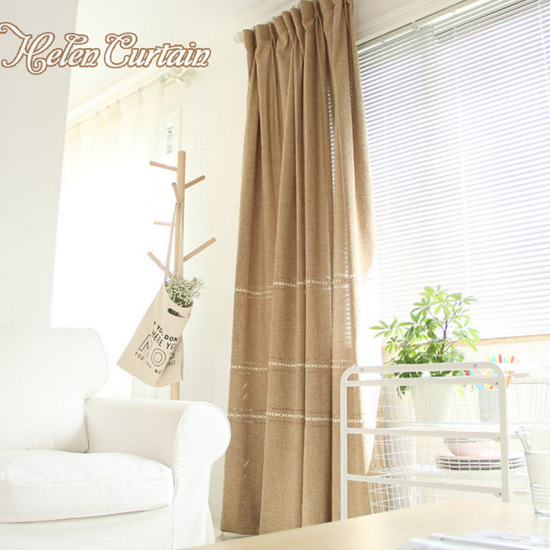 Japan Style Jacquard Linen Brown Solid Curtains For Living Room Faux Tulle  Window Curtains For Bedroom Kitchen Curtains M 5489