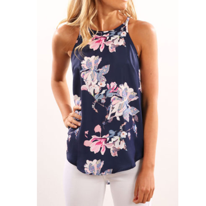 Women Blouses 2017 Casual Elegant OL Floral Blouse Slim Sleeveless Work Wear Blusas Feminina Tops Shirts Plus Size