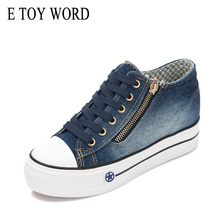 E TOY WORD 2019 New height increasing canvas shoes Fashion platform Sneakers Casual Female Jeans Womens basket femme
