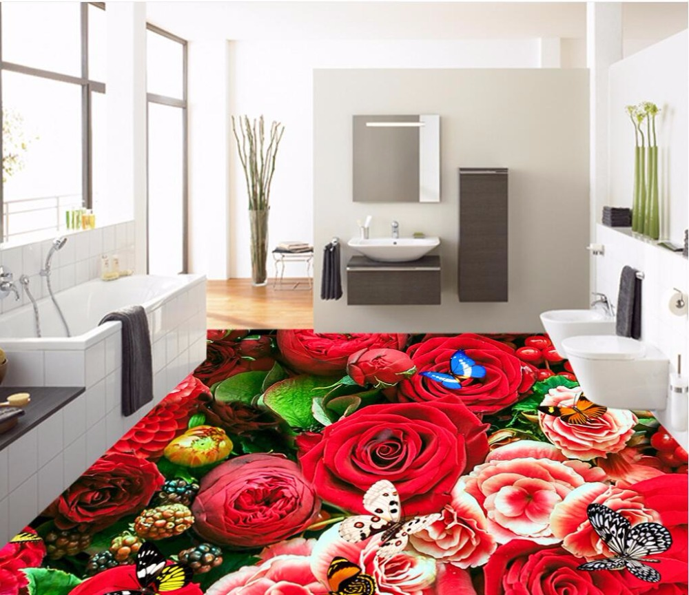 Custom mural 3d flooring picture pvc self adhesive wallpaper bedroom Beautiful roses sea decor painting 3d wall murals wallpaper custom mural 3d flooring picture pvc self adhesive european style marble texture parquet decor painting 3d wall murals wallpaper