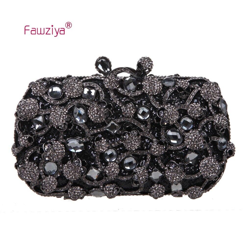 Fawziya bolsos de las mujeres famosas marcas del cráneo monedero beso lock cryst