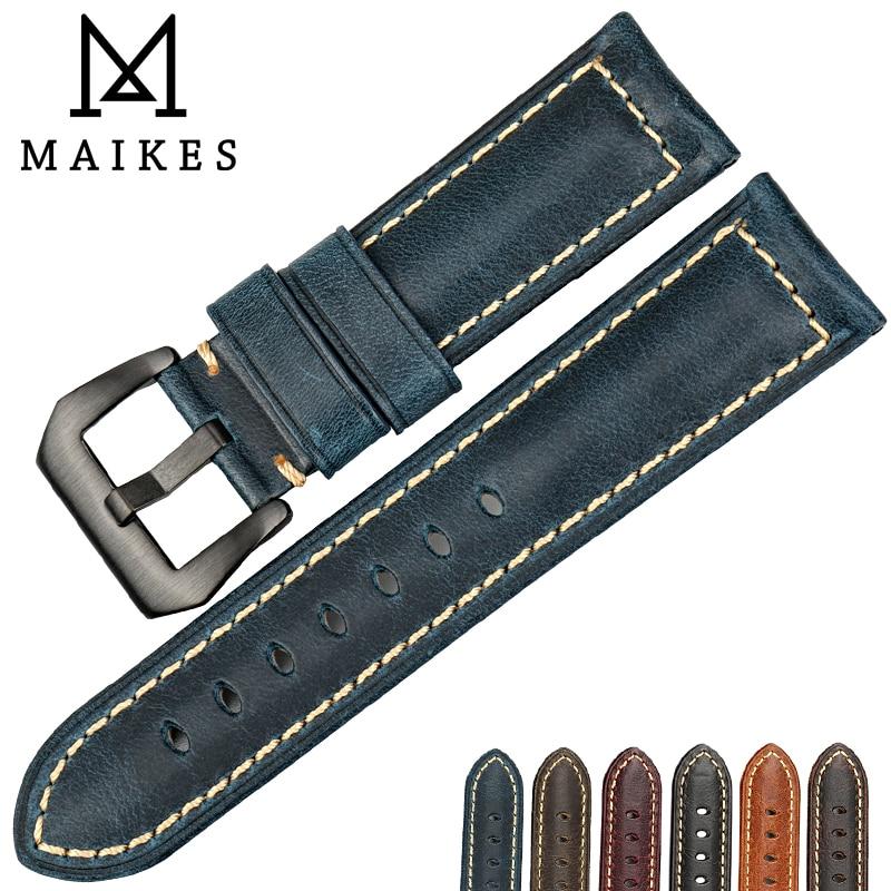 MAIKES Uhrenarmband 22mm 24mm 26mm Uhrenzubehör schwarze Schnalle Italienisches Vintage blaues Lederarmband für Panerai Uhrenarmbänder