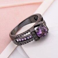 Elegant Fashion Black Zirconia CZ Pink Jewellery Filled Jewelry Party Engagement Wedding Bridal Sets Rings