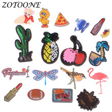 Iron on Patches for Clothing Pineapple Reversible Sequin Applique Embroidery Flower Animal Flamingo Clothes Decoration E