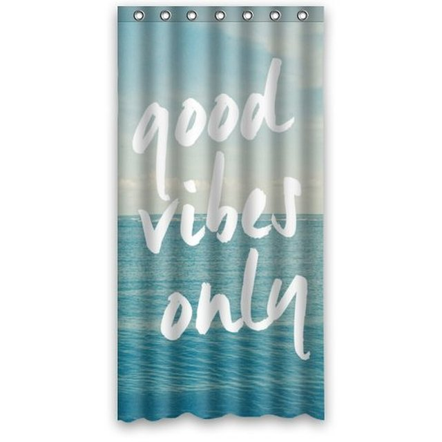 36wX72h Inch Light Blue Sea Art With Good Vibes Only Quotes Bathing  Waterproof Bath Fabric Shower