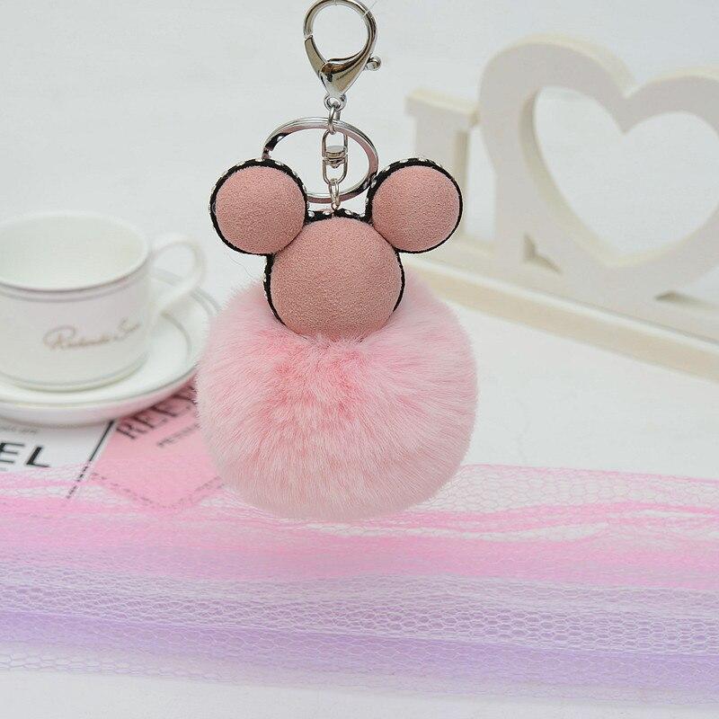 Felyskep Fashion Rabbit Fur Mickey Pompon Ball Fluffy Fur Ball Key Chain For Women For Car Or Bag Key Holder Jewelry 230WA