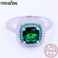 Vecalon ювелирные изделия настоящее 100% soild 925 Серебряное кольцо 3ct 5A Циркон зеленый CZ Обручение обручальное кольцо для женщин мужчины подарок