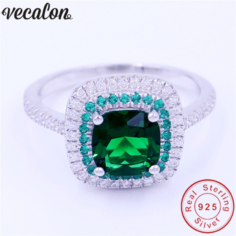 Vecalon Jewelry Real 100% Soild 925 Sterling Silver ring 3ct 5A Zircon Green Cz Engagement wedding Band ring for women men Gift vecalon heart shape jewelry 925 sterling silver ring 5a zircon cz diamont engagement wedding band rings for women bridal gift