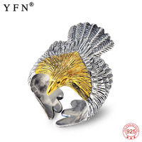 New Arrival Anillos 925 Sterling Silver Eagle Rings Men Fashion Silver Jewelry Antique Silver Open Ring Holiday Sale GNJ8894