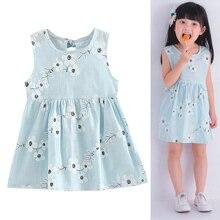 Kids Girl Dress Sleeveless Flower Print Summer