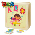 candice guo! Hot sale colorful Dora flower ABC wooden book puzzle find the letter educational wooden toy 1pc