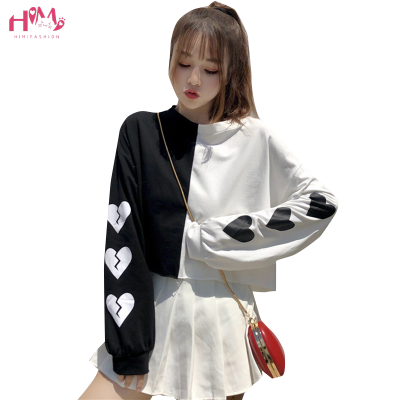 Harajuku Heart Printed Funny Hoodies Women Sweatshirts Punk Gothic Style Patchwork Color Crop Hoodies Casual Pullover Crop Tops