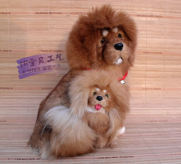 new simulation Tibetan mastiff dog model toy polyethylene & furs Tibetan mastiff mother&baby doll gift about 20x20x26cm 1874 super cute plush toy dog doll as a christmas gift for children s home decoration 20
