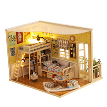 DIY Doll House Furnitures Miniature Doll House Dust Cover Wooden Miniatures For DollHouse Model Handmade Toys For Children