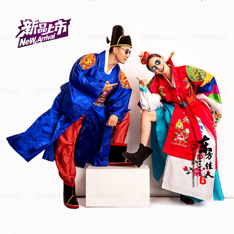 Fall In Love With The Prince Traditional Korea Hanbok Wedding Costume Sets For Lovers And The Couple With Bride Hair Tiaras