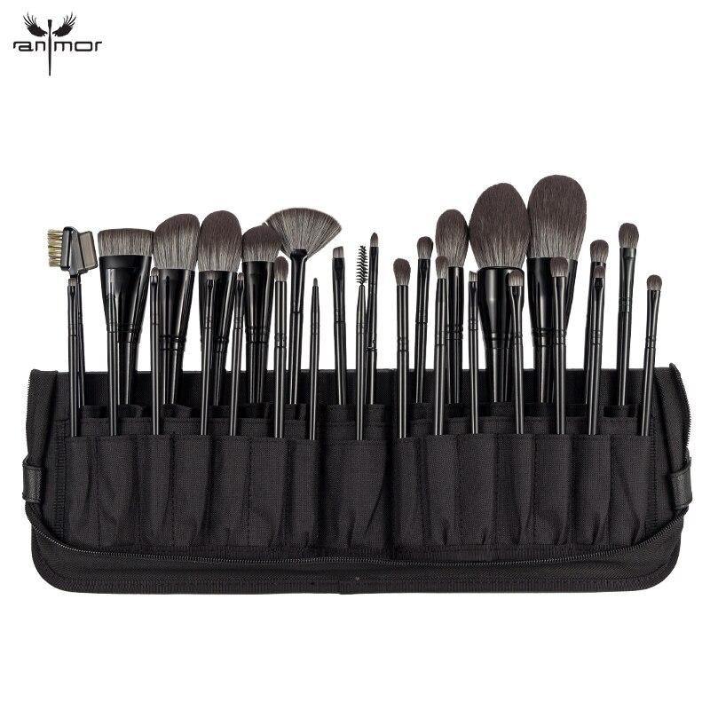Anmor 29 pièces pinceau de maquillage haute qualité en Nylon fond de teint pour cheveux ombre à paupières correcteur pinceaux de maquillage outils avec sac cosmétique noir