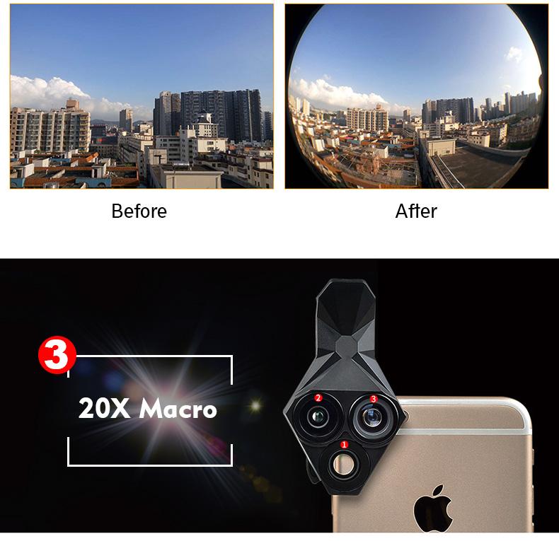 Ulanzi 3 in 1 Phone Camera Lens Kit Wide Angle Macro Fisheye Lens for iPhone Samsung HUAWEI VIVO Xiaomi Smart Mobile phones 9