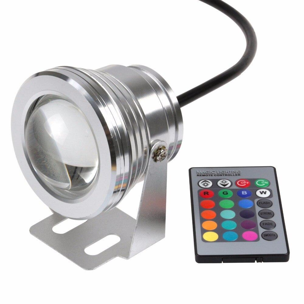Бесплатная доставка 1 компл. Открытый 10 Вт RGB Подводные СВЕТОДИОДНЫЙ Прожектор Свет Потока Изменение Цвета Лампы IP68 + 24 ключ контроллер для ...