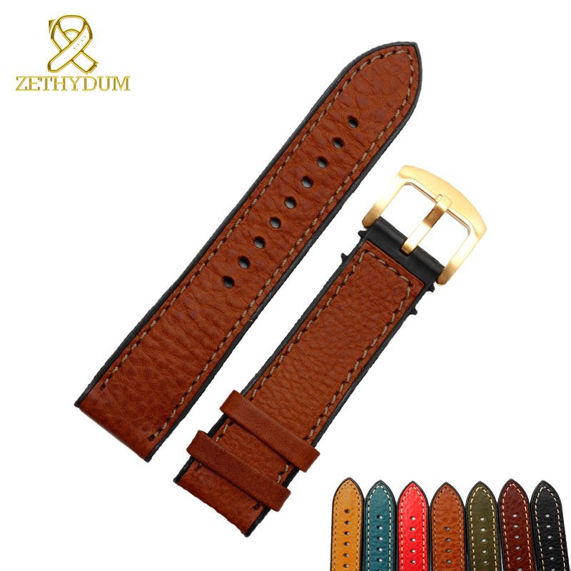 Genuine Leather Bracelet Rubber Bottom Italian Leather Watch Strap 18 20 22 24mm Band Waterproof Silicone Base Watchband