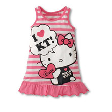 цена на Seartist 2019 New Girls Hello Kitty Dress Princess Kt Dresses for Girl Bebes Summer Clothes Baby Girl Clothes Striped KT Cat 35