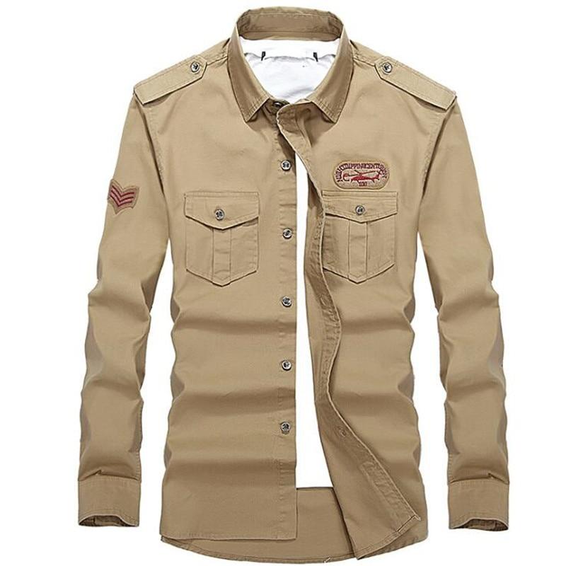 ABOORUN Plus Size 100 Cotton Mens Shirt Military Army Green Long Sleeve Slim fit Shirt P5074