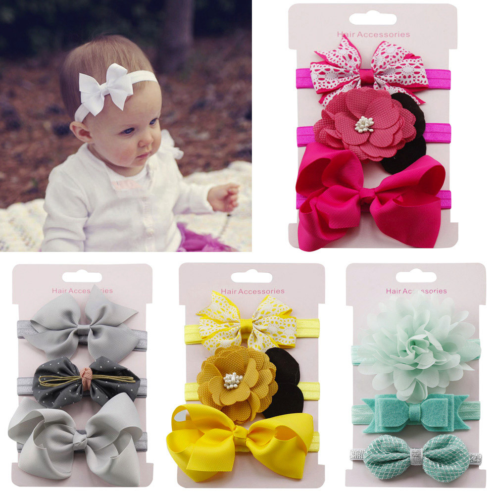 Nishine 3pcs/lot Kids Elastic Floral Headband Baby Bowknot Hair Bands   Headwear   Set Girls Hair Accessories Cute Gift