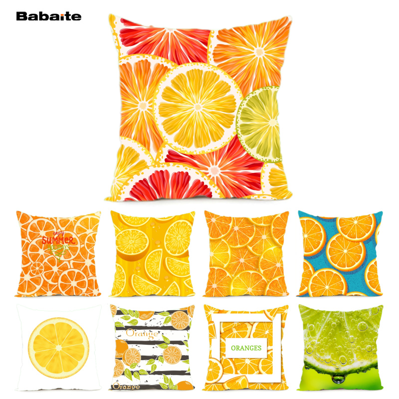 Babaite Oranges Cross Section Funny Design Home Decoration Cushion Cover 2 Sides Printing Throw Pillow Cover Hiddern Zipper