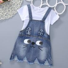 T summer Girls girls short cowboy cat print skirt t shirt two pc sets baby set