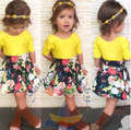 SQ198 Free shipping 2015 summer girls skirt suit children clothing set yellow T-shirt+ flower skirt 2 pcs/Set girls dress retail