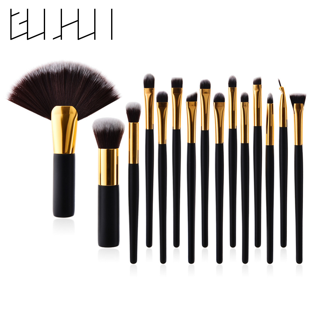 Pro 15Pcs Black Makeup Brushes Set Pinceis Soft Hair Cosmetic Eyeliner Eyeshadow Lip Foundation Powder Blush Makeup Brushes Kit 1 4pcs cosmetic makeup brushes set eyebrow eyeliner eyelashes lip makeup brush kits eyeshadow blush brushes pinceis de maquiagem