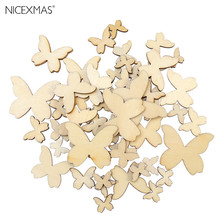 50pcs Mixed Size Wooden Butterfly Cutouts Craft Embellishment Gift Tag Wood Ornament for DIY Christmas Decoration