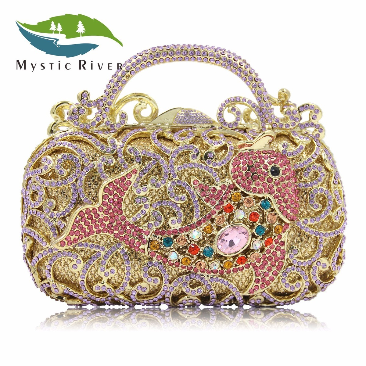 Mystic River Women Crystal Evening Bags Luxury Pattern Purple Party Bag Carp Fish Designer Wedding Clutches Purses Long Chain luxury crystal clutch handbag women evening bag wedding party purses banquet